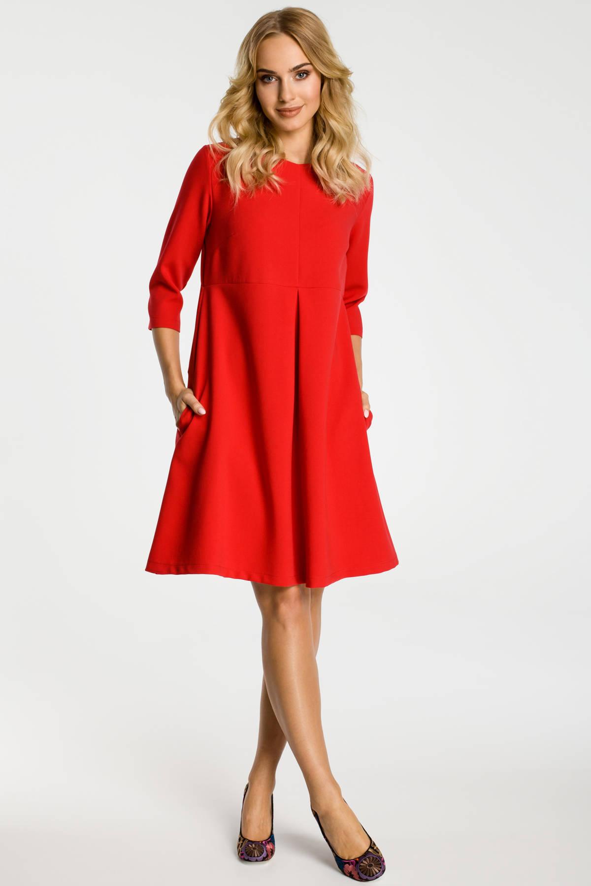 10df7cb1ac8b08 MOE ELYSE Sukienka z kontrafałdą pod biustem - czerwona - Merg.pl