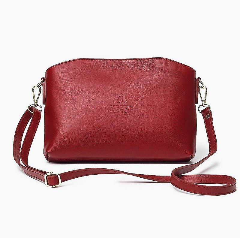 Skórzana Włoska czerwona torebka listonoszka MELANIA