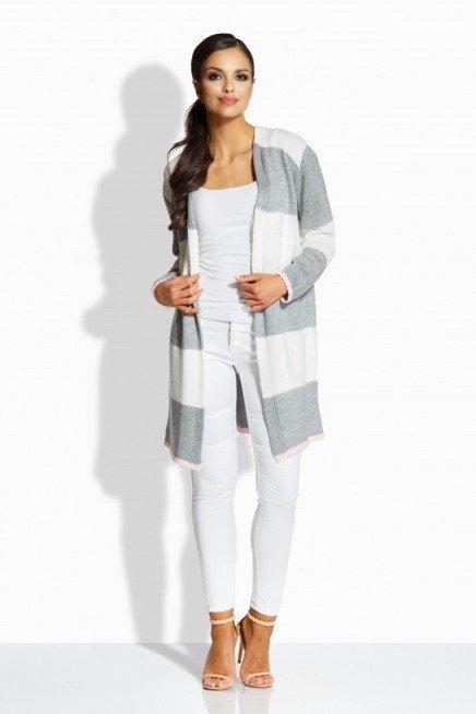 Klasyczny sweterek w paski w formie płaszczyka ekri-jasnoszary
