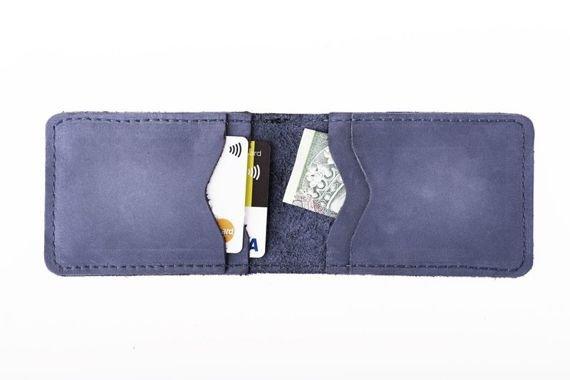 Cienki portfel ze skóry naturalnej BRODRENE granatowy