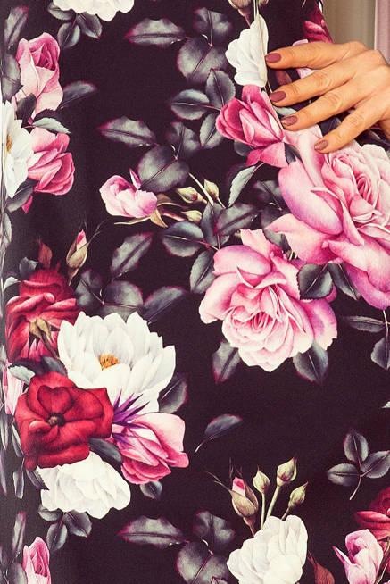 MIA Trapezowa sukienka z rozkloszowanymi rękawkami - CZARNA W KWIATY