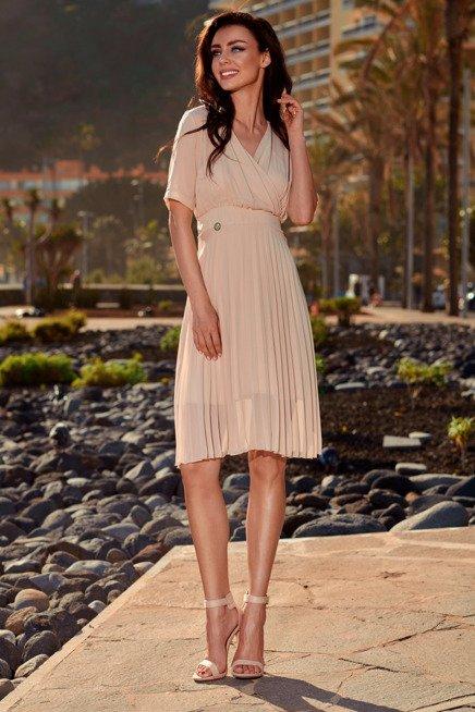 Zwiewna sukienka kopertowa beżowy KENDRA