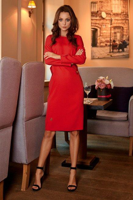 Elegancka sukienka biznesowa czerwony ABRIL