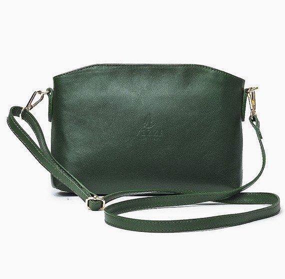 Skórzana Włoska zielona torebka listonoszka MELANIA