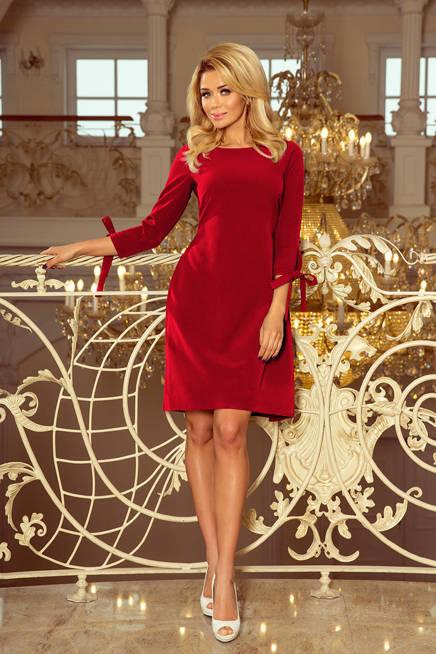 Carmen Sukienka z kokardkami - BORDOWA