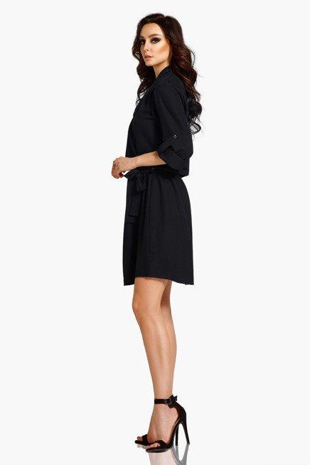 Koszulowa sukienka z kopertowym dekoltem z paskiem  czarny