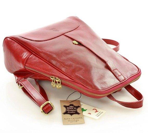 DARELLE Plecak skórzany włoski MAZZINI czerwona
