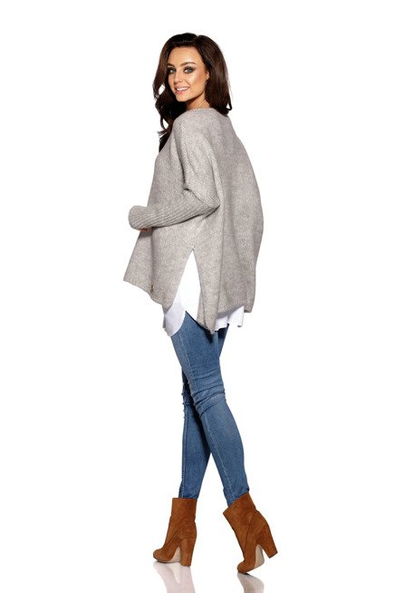 Modny sweter ponczo jasnoszary MOLLY