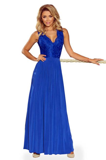 JULIA długa suknia MAXI bez rękawków z koronkowym dekoltem - chabrowa