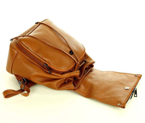 Skórzany plecak damski AMBER camel