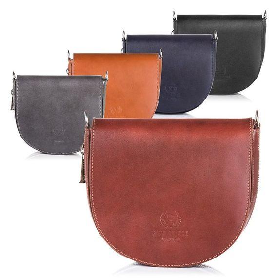 Skórzana Czarna włoska torebka Listonoszka na ramię