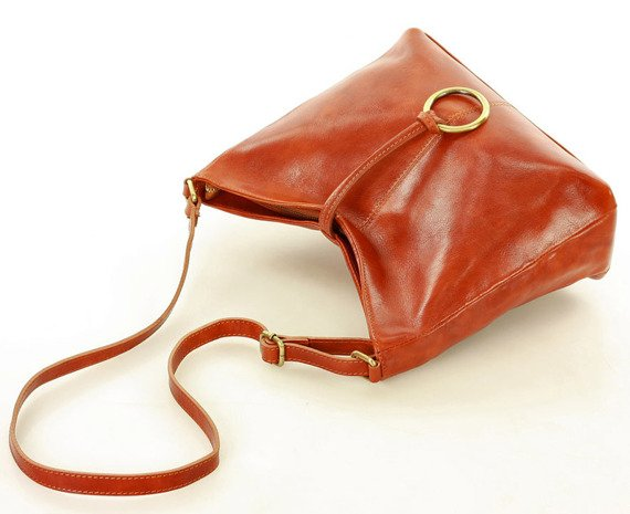 Włoska torebka skórzana - Fabiola Stile brąz koniak CECELIA