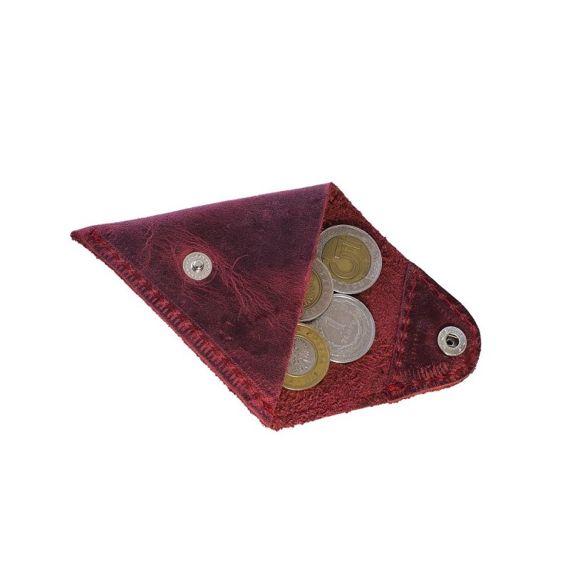 Czerwona bilonówka coin wallet BRODRENE Skóra naturalna