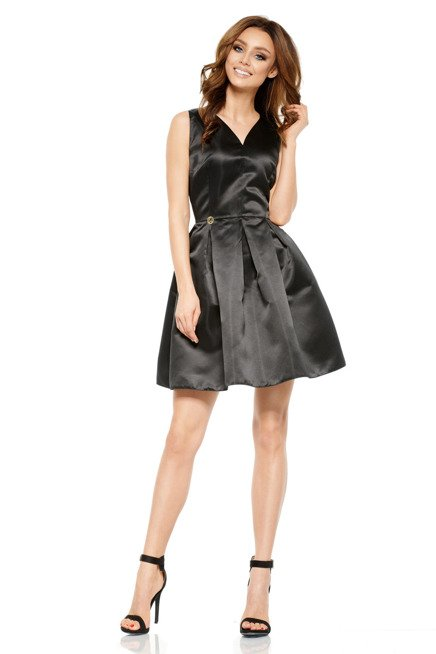 Rozkloszowana sukienka czarna DAKOTA