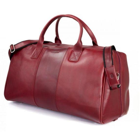 GERONE Czerwona męska torba ze skóry Podróżna smooth leather