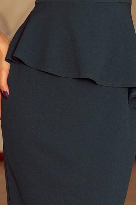KLAUDIA Elegancka sukienka MIDI z baskinką - BUTELKOWA ZIELEŃ