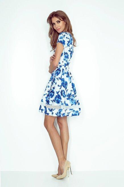 Giulia Sukienka midi z tiulowymi pasami - biała w niebieskie kwiatki