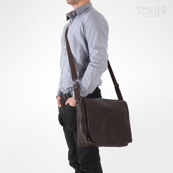 Męska brązowa miejska torba na ramię Solier TAURO
