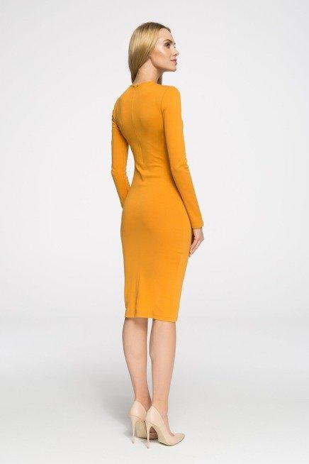 ELISE Sukienka ołówkowa z długimi rękawami - miodowa