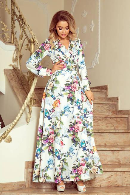 SYLWIA Sukienka MAXI z falbanką i dekoltem - kolorowe róże i niebieskie ptaszki