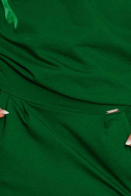 Heidi Sukienka dresowa z dekoltem na plecach - ZIELEŃ BUTELKOWA