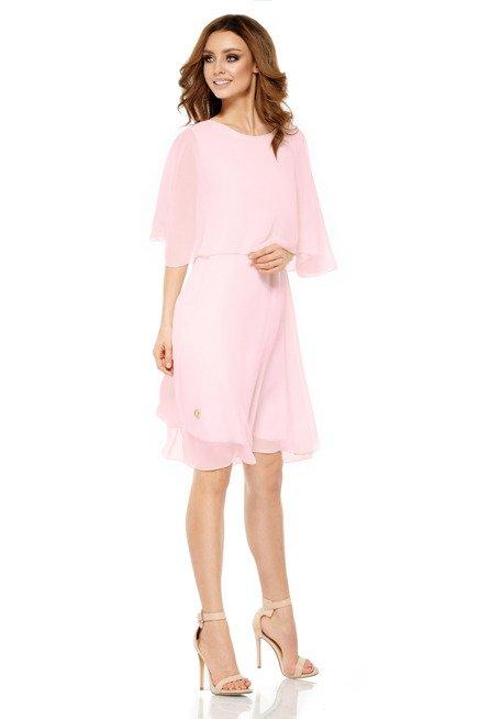 Szyfonowa sukienka z narzutką pudrowy róż DIANA