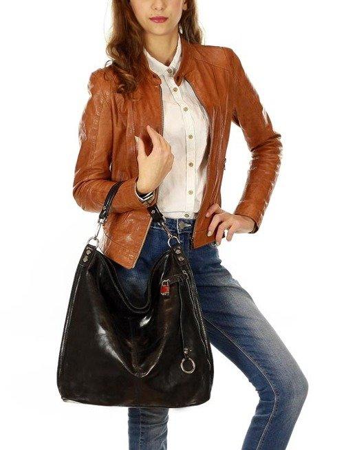 Skóra naturalna torebka worek Isabella MAZZINI  czarny