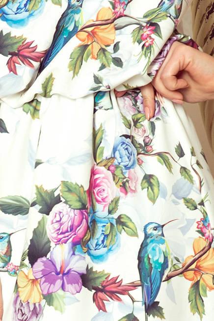 DIANA Sukienka MAXI wiązana na szyi z rozcięciem - kolorowe róże i niebieskie ptaszki