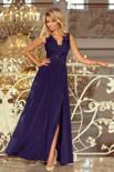 WIKTORIA długa suknia bez rękawków z haftowanym dekoltem - GRANAT