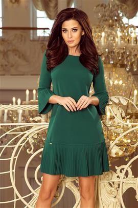 BRANDY - plisowana wygodna sukienka - ZIELEŃ BUTELKOWA