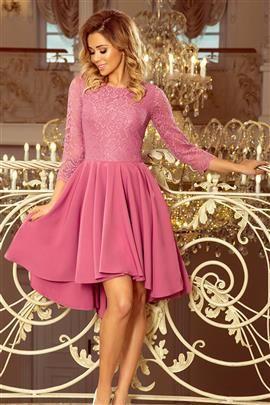 BRENDI - sukienka z dłuższym tyłem i koronką - LILA
