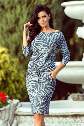 Chantal Sukienka sportowa z wiązaniem - niebieskie JEANSOWE LIŚCIE