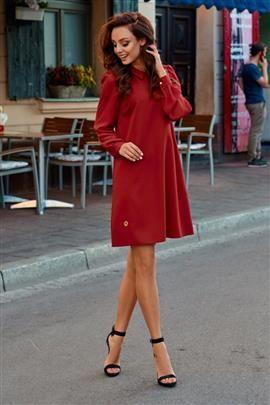 Elegancka sukienka z szyfonowymi rękawkami bordo