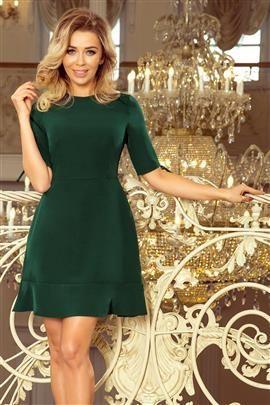 FIBI Sukienka z falbankami i wiązaniem na rękawkach - CIEMNOZIELONA
