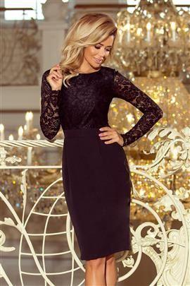 GABI elegancka ołówkowa sukienka z koronką - CZARNA