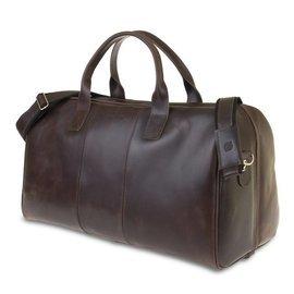 GERONE Ciemno brązowa męska torba ze skóry Podróżna smooth leather