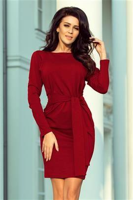 JENIFER Sukienka z szerokim wiązanym PASKIEM - BORDOWA