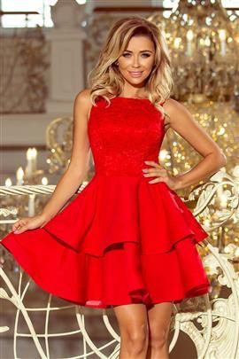 JENNIFER podwójnie rozkloszowana sukienka z koronkową górą - CZERWONA