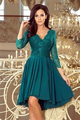 KLARA  sukienka z dłuższym tyłem z koronkowym dekoltem - BUTELKOWA ZIELEŃ