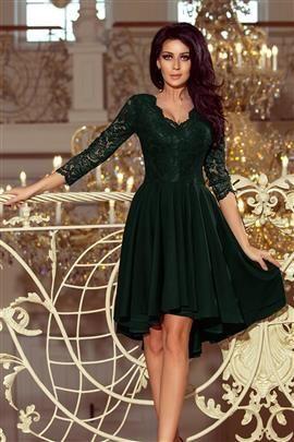 KLARA - sukienka z dłuższym tyłem z koronkowym dekoltem - CIEMNA ZIELEŃ