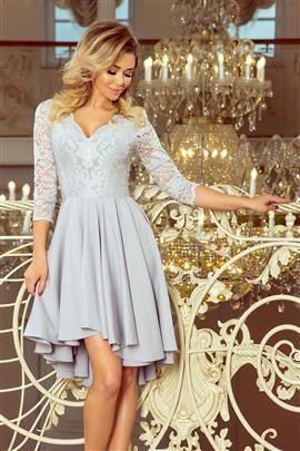 KLARA - sukienka z dłuższym tyłem z koronkowym dekoltem - SZARA