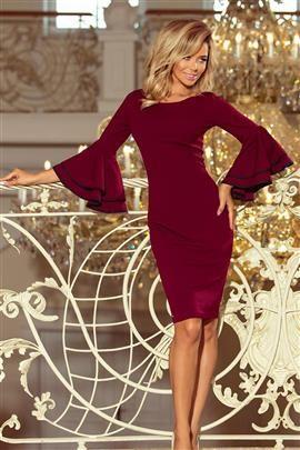 Kendra sukienka z hiszpańskimi rękawkami - BORDOWA