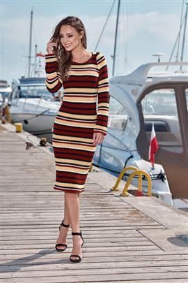 Kobieca ołówkowa sweterkowa sukienka bordo-kamel-czarny