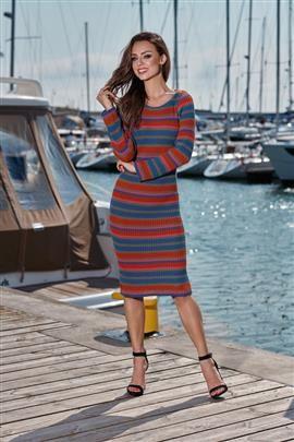 Kobieca ołówkowa sweterkowa sukienka jeans-rudy-jasnoszary