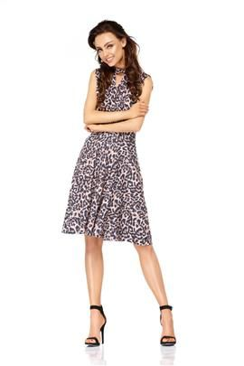 Kopertowa sukienka bez rękawów do kolan panterka
