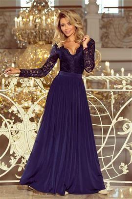 LUKSI długa suknia z koronkowym dekoltem i długim rękawkiem - GRANATOWA