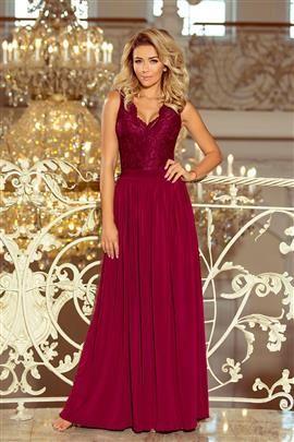 MERY długa suknia bez rękawków z koronkowym dekoltem - BORDOWA