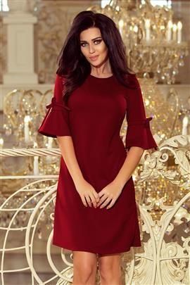 MIA Trapezowa sukienka z rozkloszowanymi rękawkami - BORDOWA