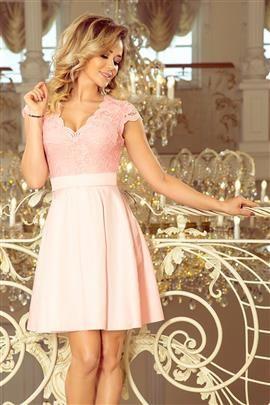 MONIKA sukienka z dekoltem i koronką - PASTELOWY RÓŻ