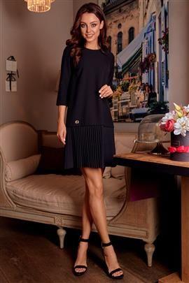 Prosta sukienka mini z plisowaniami czarny SUMMER